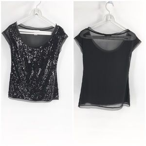 Arden B Black Sheer Shimmer Cocktail Party Top S